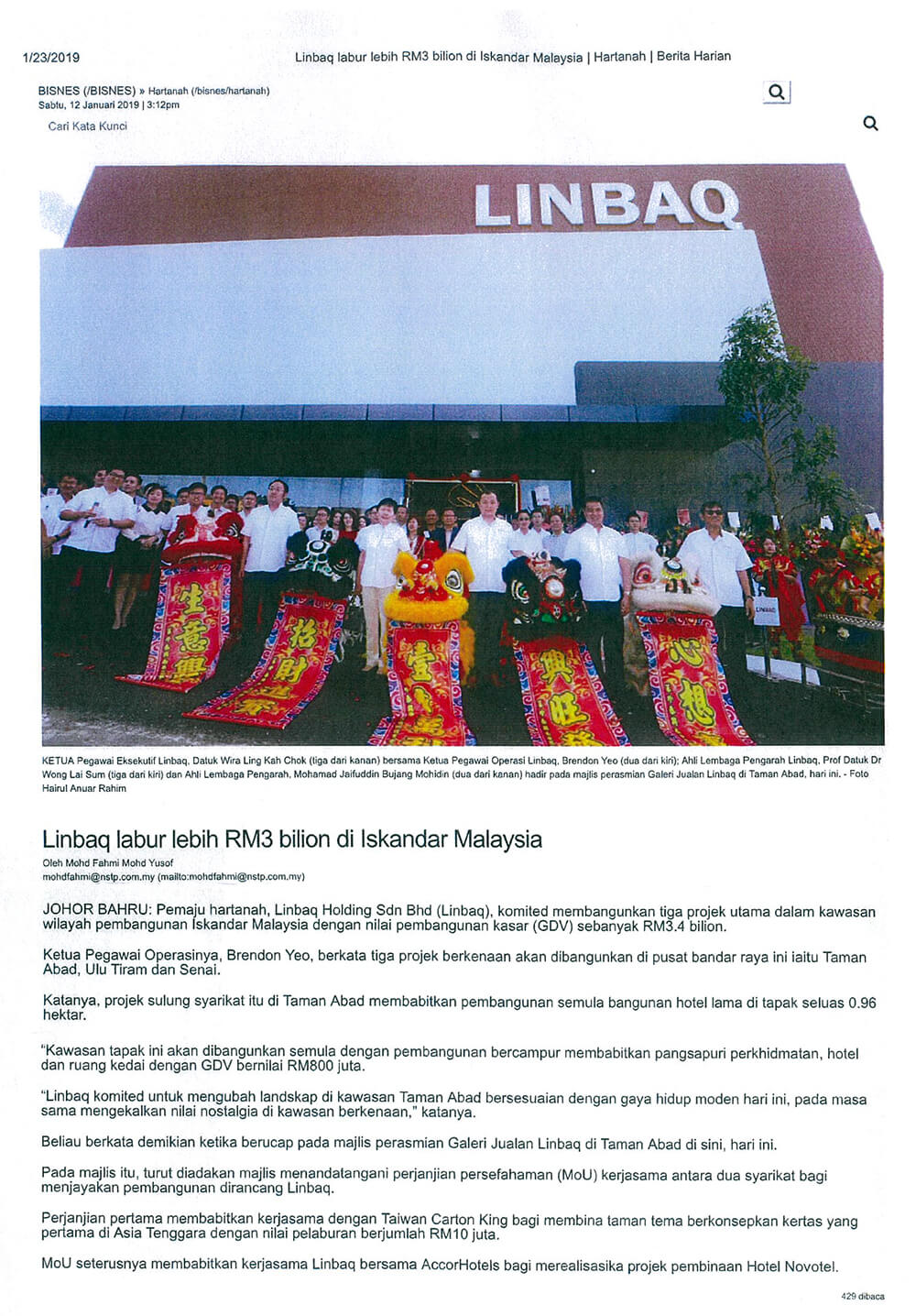 LINBAQ invests more than RM3 billion in Iskandar Malaysia image